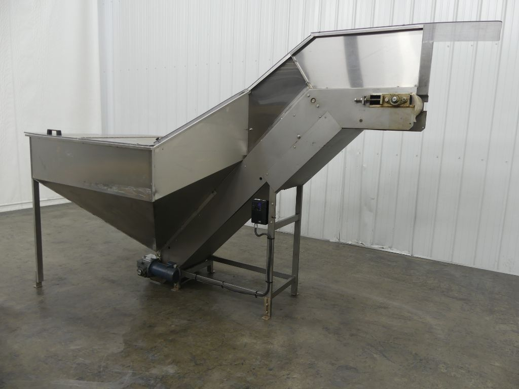 Stainless Steel Incline Conveyor with Hopper