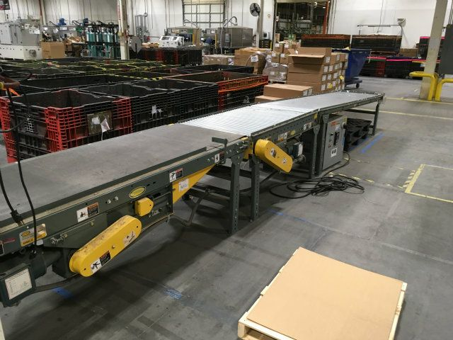 Used TA Hytrol Powered Smooth Belt And Roller Conveyor
