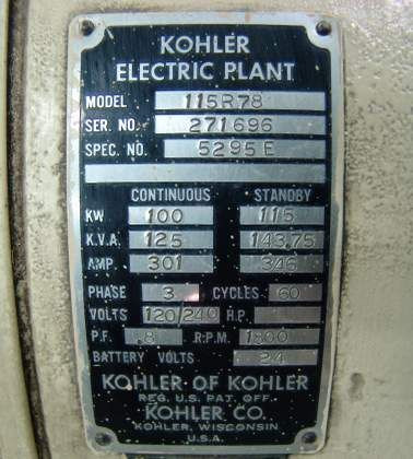 Used Kohler Electric Plant Generator Model 115r78