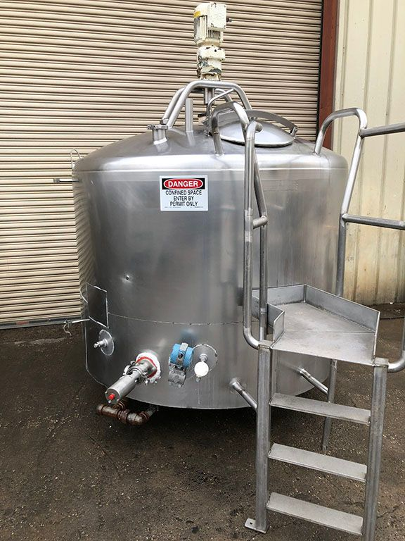 Mueller 600 Gal Stainless Steel Jacketed Mix Tank
